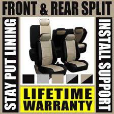 Tan & Black Deluxe Perf Leather Full Car Seat Covers Set Split Fold  SUV Dh5000