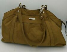 Baggalini Large Shoulder Bag Travel Purse Hobo Portabello Brown Nylon Red Lining