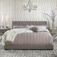 King Size Bed Frame Upholstered Stitched Headboard Platform Bedroom Furniture