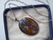 """VINTAGE STERLING SILVER LARGE BLOODSTONE MOSS AGATE PENDANT 21"""" FIGARO CHAIN"""