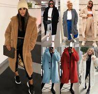 Women's Ladies Winter Long Teddy Bear Fleece Faux Fur Fluffy Coat Jacket Outwear