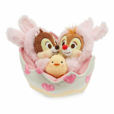 DISNEY STORE CHIP 'N DALE PLUSH EASTER BASKET SET SILKY LINED EGGSHELL CHICK NWT