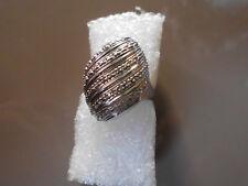 Diamantring 925 Silber rhodeniert 19  ca 50 klare Diamanten