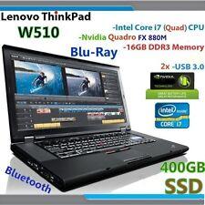 (3D-Design nVIDIA ) Thinkpad W510 i7-Quad (Blu-Ray 400GB-SSD 16GB) 15.6 HD+ USB3
