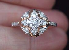 New Sz 6,7,8 10K 3/8ct Natural Diamond Flower Cluster Ring Rose Gold