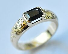 NATURAL SAPPHIRE RING HAND ENGRAVED BAND SOLID 9K 375 GOLD SIZE N1/2 NEW