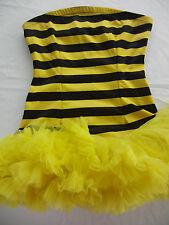 Bumble Bee Strapless Stripe Costume Yellow Black Tutu Skirt  Adult Teen S / M