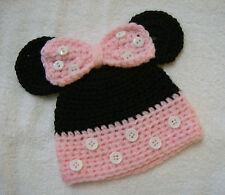 Hand Crocheted Minnie Mouse Newborn Baby Hat, Cap, Beanie