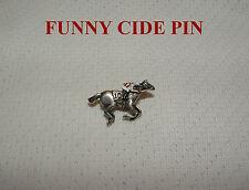 NEW FUNNY CIDE HAND PAINTED HORSE RACING JOCKEY SILKS PIN