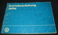 Betriebsanleitung VW Jetta II Stand Februar 1984 Handbuch Bordbuch