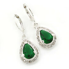 Emerald Green/ Clear CZ Drop Earrings With Leverback Closure In Rhodium Plating