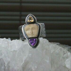Tabra Goddess Face Ring w/Amethyst & Citrine!