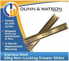 450mm 45kg Stainless Steel Drawer Slides / Fridge Runners - Kitchens Boat Marine