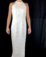 Vtg Sheath Lace Wedding Dress Sequin Halter Bridal Gown Embellished Sleeveless