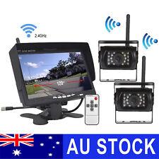 "Wireless 7"" Monitor 2x Reversing Camera Rear View Kit 12V 24V Truck Caravan Boat"