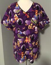 Disney Winnie the Pooh Piglet Happy Haunting Halloween Scrub Top Purple Multi XL