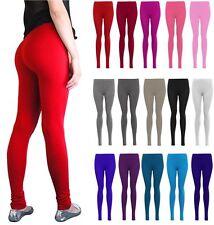 New Womens Ladies Plain Lycra Long Stretch Jersy Coloured Leggings Uk Size 8-24