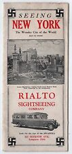 1920s RIALTO SIGHTSEEING COMPANY New York City BROCHURE Map BUS Sign of Service