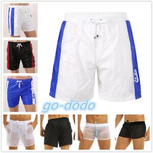 Men Swimming Trunks Underwear Quick Dry Boxer Shorts Drawstring Beach Short Pant