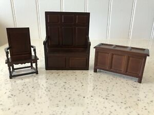 Dolls house miniature 1:12 Medieval Tudor furniture x 3 - chest, chair, bench