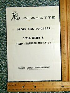 Lafayette SWR Meter & Field Strength Indicator Operating Manual w/ schematic