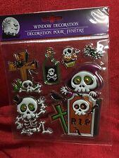 Halloween Spooky Window Decorations Shiny Metallic Skeletons & Tombstones