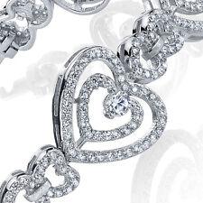 Sterling Silver Cubic Zirconia Heart Tennis Bracelet set with Brilliant Cut CZ's