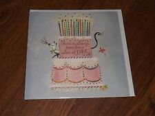 """"""" THERE'S ALWAYS TIME FOR A SLICE OF CAKE """"..CUTE CAKE & CAT SEALED BLANK CARD"""