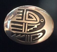 Vintage Sterling Silver Hopi Belt Buckle By Riley Polyquaptewa.