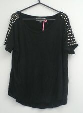 Hearts & Bows Black Baggy Loose Top T-Shirt Studded Shoulders 8-10 Goth Grunge