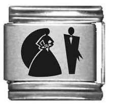 Clearly Charming Bride & Groom Laser Italian Charm