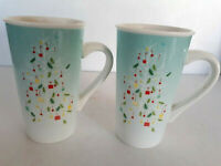 Lot 2 Starbucks Tall Coffee Mug Cup Blue Ombr Christmas Tree 2019 Holiday 16 oz