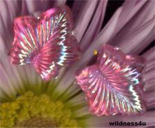 8 VINTAGE Art GLASS JEWELS Pink IRIS Leaf leaves Feather Flower Cabochon Cab Lot