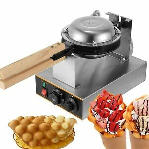 Commercial Electric Non-Stick Egg Bubble Waffle Rotated Eggettes Maker 110V