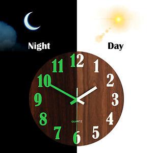 Luminous Wall Clock Number Quartz Glow In The Dark Hanging Home Decor Round