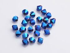 200pcs 3mm Bicone Faceted Crystal Glass Loose Spacer Beads Blue Plated