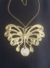 *Vintage Style Gold Butterfly Necklace With Diamanté*