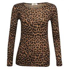 New Ladies Women's Brown Leopard Print Long Sleeve Top UK Sizes 8-18