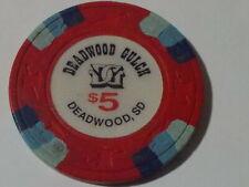 New ListingDeadwood Gulch Casino $5 hotel casino gaming poker chip ~ Deadwood, S.D.
