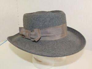 Vintage BETMAR New York Womans Fedora Hat Gray Wool Felt Medium