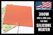 300 x 300mm Industrial Silicone Heater, 300W/110V for 3D Printer Heated Bed