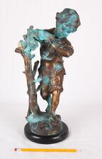 """Beau Temps"" by Auguste Moreau, Bronze Sculpture of Boy, w Marble Base, 16"""