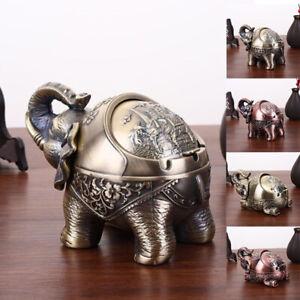 Cigarette Cigar Ashtray Metal Ash Tray Elephant Shape Cute Desktop Novelty Lid