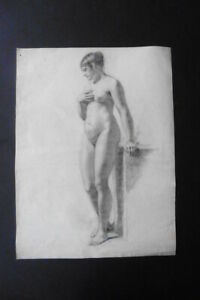 FRENCH SCHOOL CA. 1810 - FINE STUDY FEMALE NUDE ATTR. VERNET - CHARCOAL DRAWING
