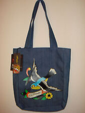 BRAND NEW ED HARDY DENIM TOTE BAG JEAN NESS SHOPPER SHOULDER WOMEN'S HANDBAG