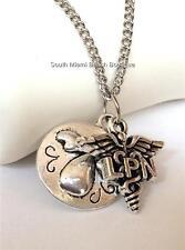 Silver Nurse Angel Caduceus LPN Necklace Pendant Chain Nursing Gift USA Seller