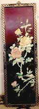 Vintage Wall Art/Plaque/Panel - Hand Carved Shell Flowers on Wood - China