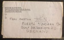 1947 Post Ww2 England Letter Cover Pow Camp Lager To Fuerth Germany Hans Hain