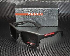PRADA LINEA ROSSA PS 01US DG05S0 Black Rubber Grey Men's Sunglasses