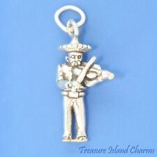 MEXICAN MARIACHI MUSICIAN WITH VIOLIN FIDDLE 3D 925 Sterling Silver Charm MEXICO